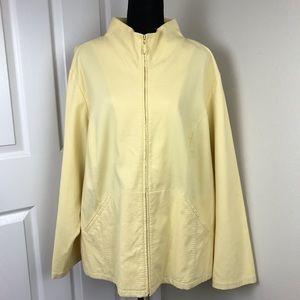 Eileen Fisher Woman Yellow Waffle Full Zip Jacket